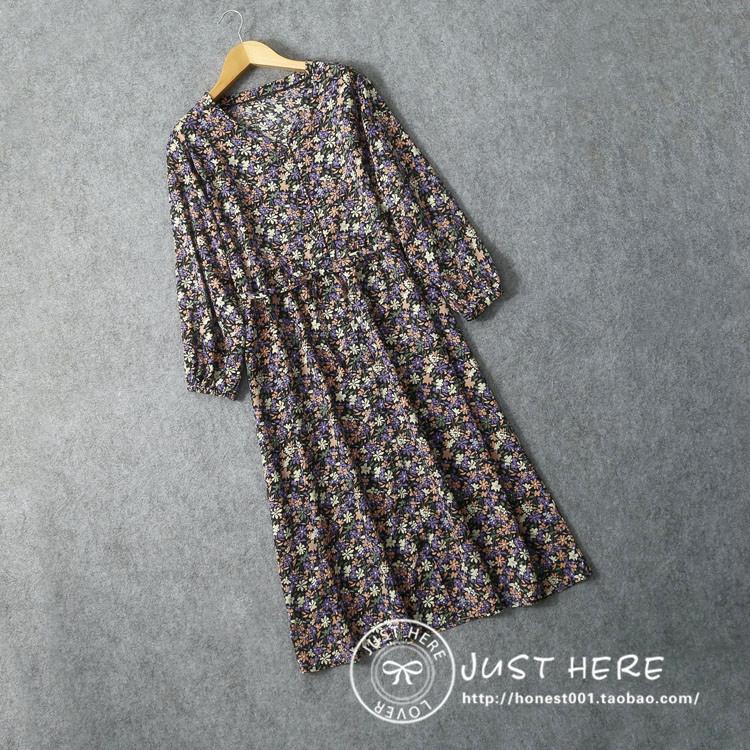 日系长衬衫 日本原单2020夏女V领花色衬衫裙日系外贸中长款腰带修身连衣裙_推荐淘宝好看的日系长衬衫