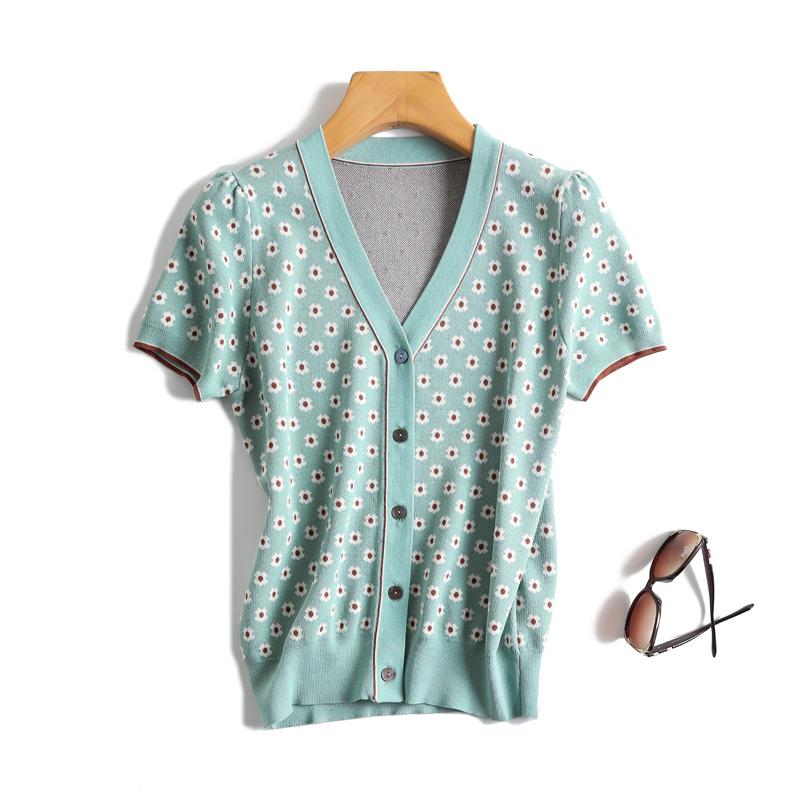 印花短袖针织衫 法式优雅复古蓝绿色花朵印花V领冰麻短袖针织开衫薄空调衫披肩女_推荐淘宝好看的女印花短袖针织衫