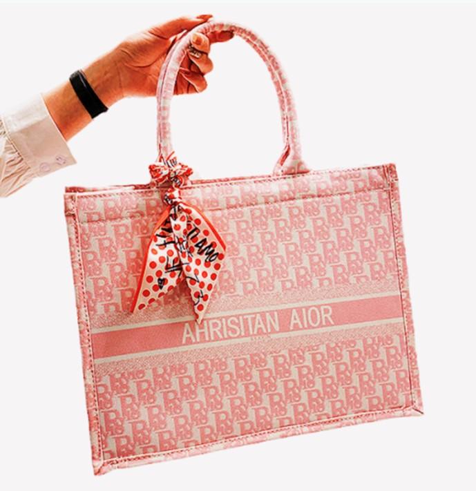 迪奥手提包 手提包女刺绣托特包适用于迪奥2021春夏新款潮时尚网红单肩包帆布_推荐淘宝好看的迪奥手提包