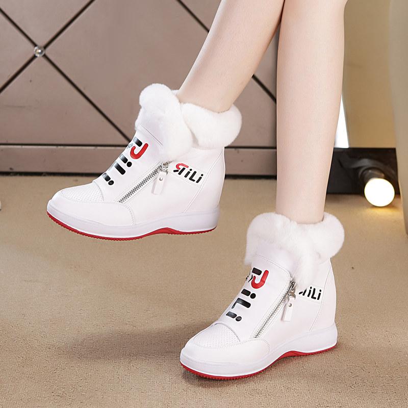 白色厚底鞋 冬季兔毛内增高女鞋2020新款短靴加绒厚底保暖雪地靴女白色毛毛鞋_推荐淘宝好看的白色厚底鞋
