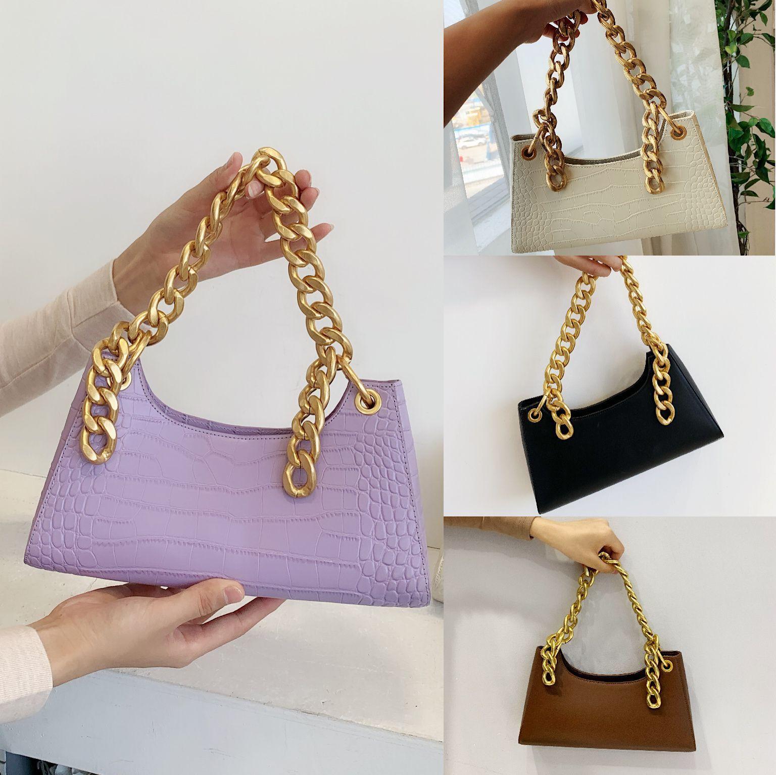 紫色手提包 2020新款小CK粗链条法棍包紫色腋下包复古鳄鱼纹真皮手提单肩女包_推荐淘宝好看的紫色手提包