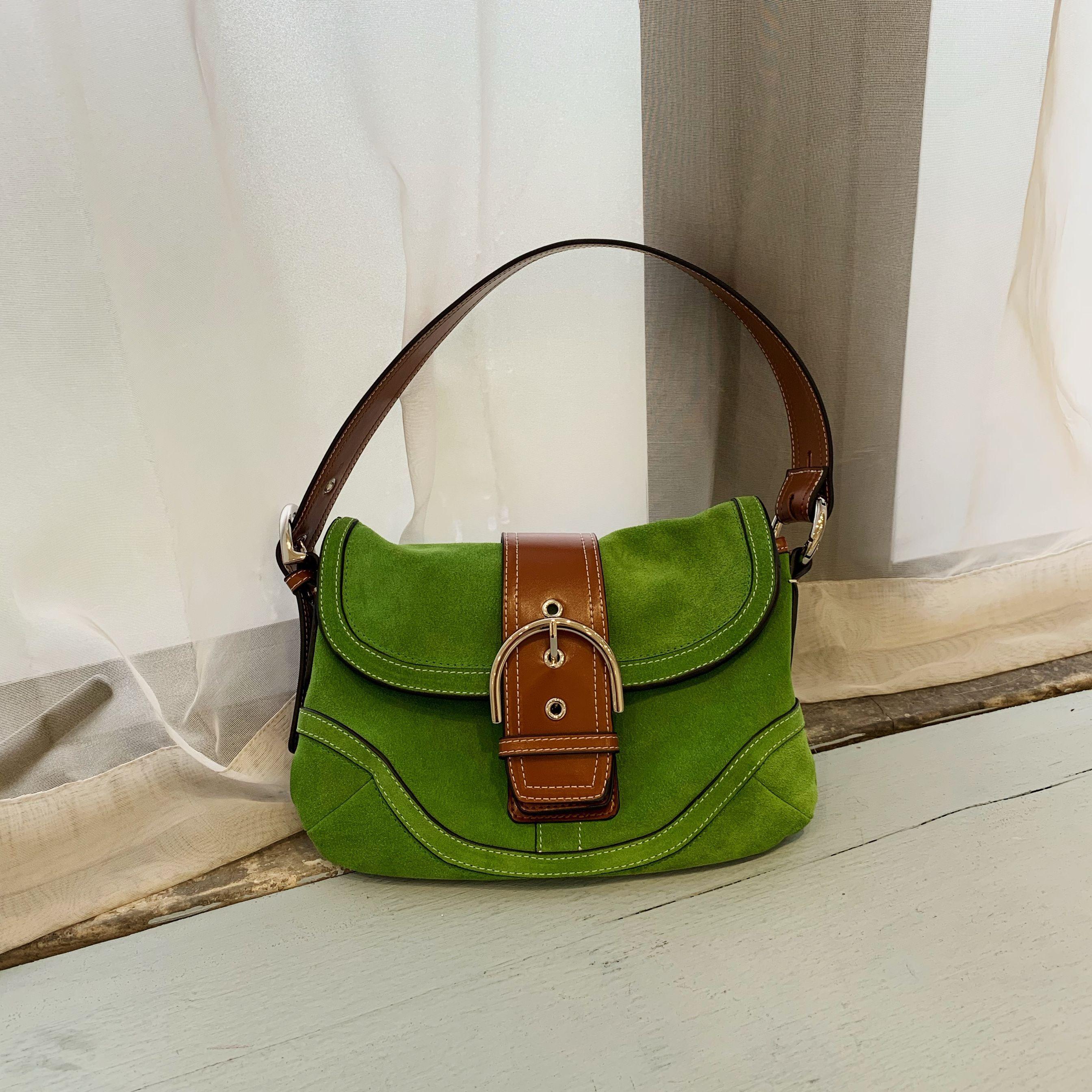 绿色复古包 2020新款网红同款腋下包单肩包单肩手提包复古真皮绿色法棍包女_推荐淘宝好看的绿色复古包