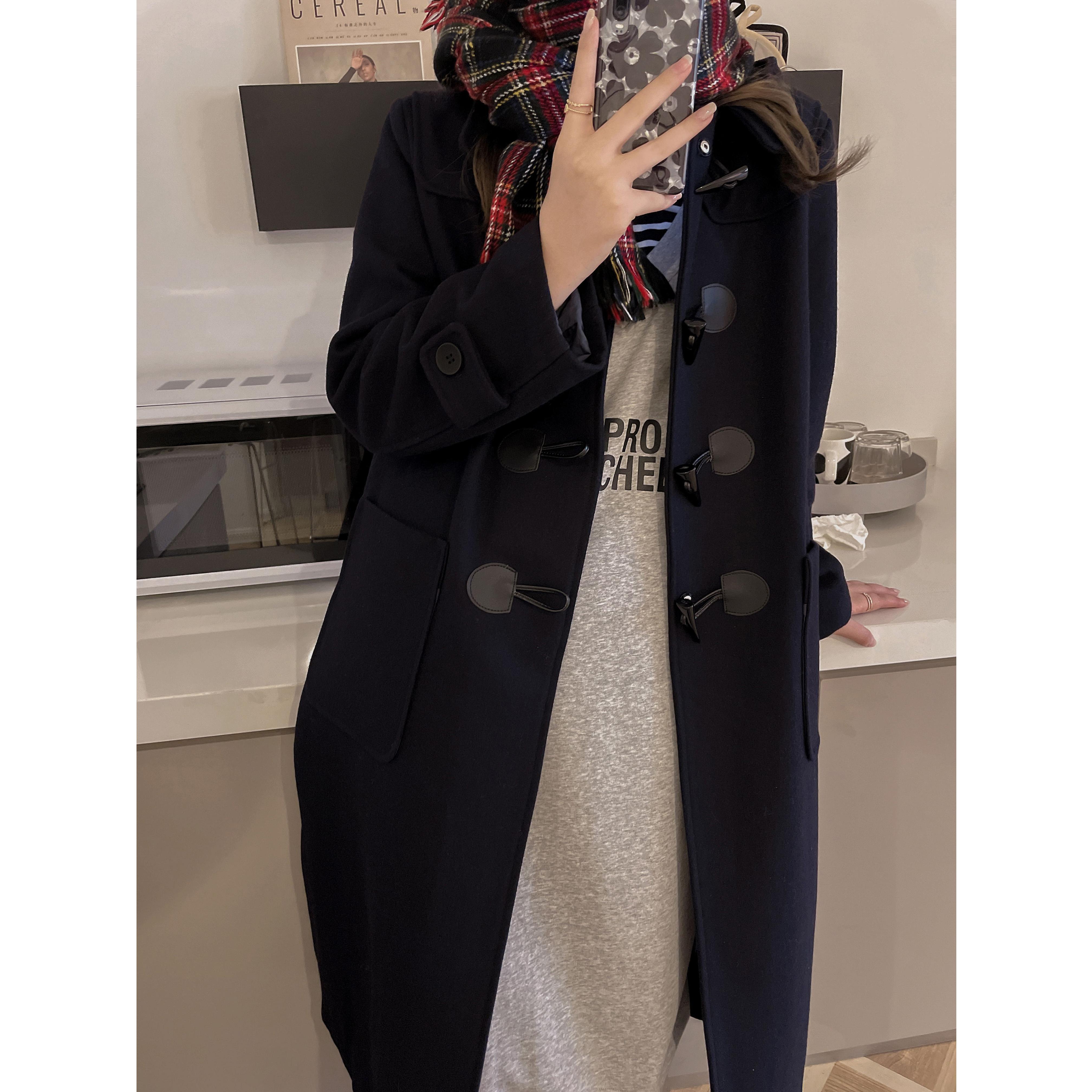 外套 2021秋冬新款加厚学院风连帽中长款牛角扣呢子大衣羊毛显瘦外套女_推荐淘宝好看的女外套