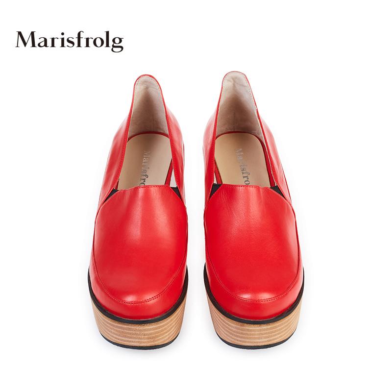 玛丝菲尔女装折扣 Marisfrolg玛丝菲尔 红色防水台粗跟真皮女鞋 专柜春新女鞋_推荐淘宝好看的玛丝菲尔折扣