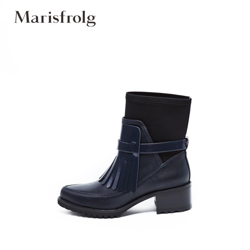 玛丝菲尔女装折扣 Marisfrolg玛丝菲尔 百搭 真皮 粗跟 中筒 中靴 女_推荐淘宝好看的玛丝菲尔折扣