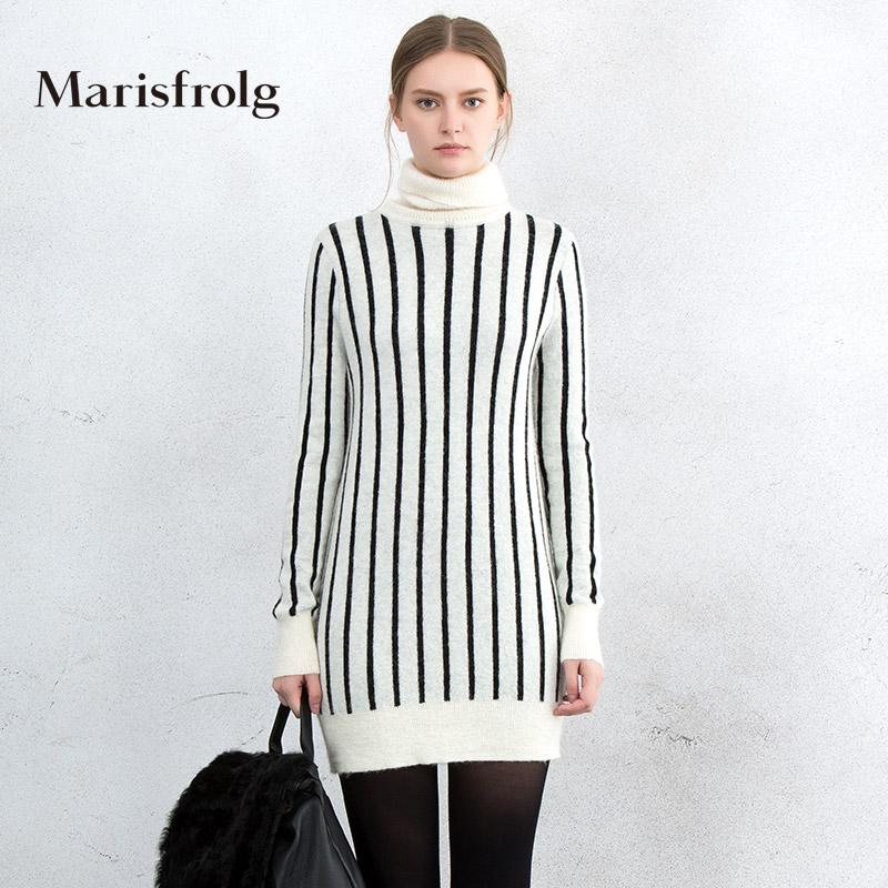 玛丝菲尔女装正品 Marisfrolg玛丝菲尔女装时尚撞色条纹长袖高领针织衫春正品_推荐淘宝好看的玛丝菲尔正品