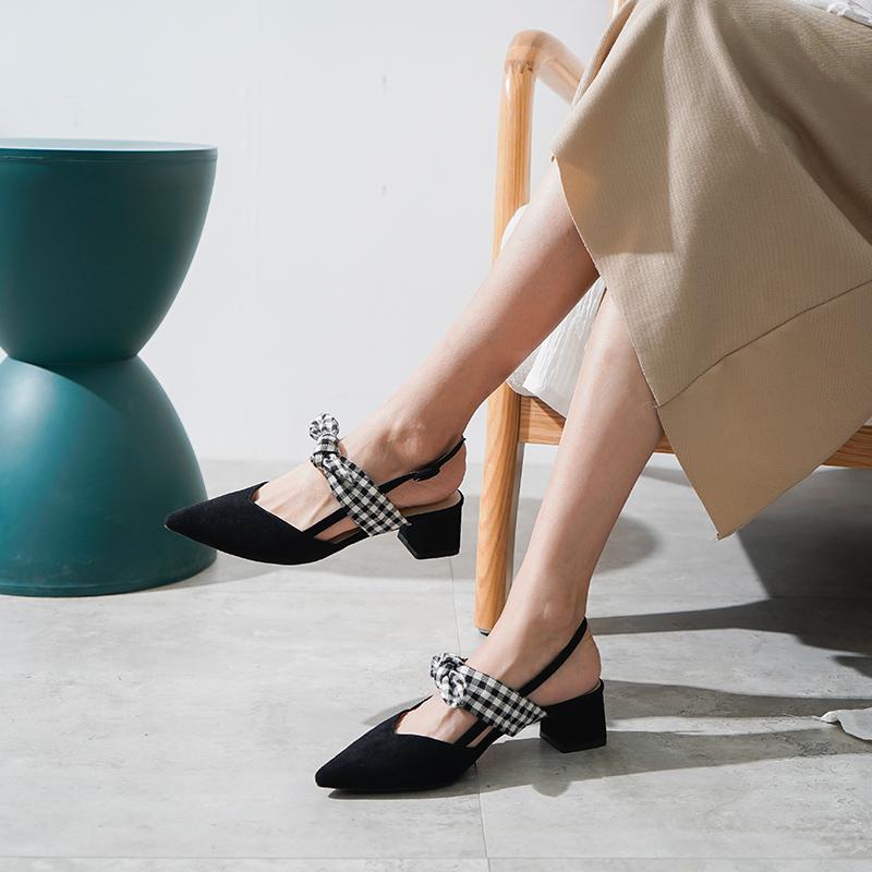 黑色凉鞋 女鞋2021新款春季黑色包头凉鞋女仙女风粗跟单鞋女中跟尖头蝴蝶结_推荐淘宝好看的黑色凉鞋