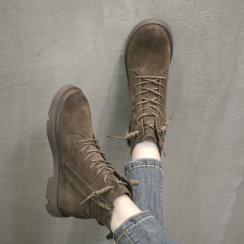 短靴 叙美秋冬款加绒磨砂牛皮女靴软底方跟防水台骑士靴侧拉链沙漠短靴_推荐淘宝好看的女短靴