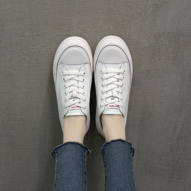 松糕鞋 四季百搭牛皮厚底小白鞋女单鞋浅口系带低帮韩版松糕学生平底板鞋_推荐淘宝好看的女松糕鞋