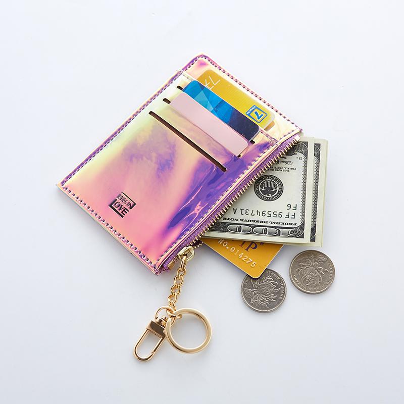 紫色钱包 小卡包钱包一体包女式可爱镭射小巧超薄证件位零钱信用银行卡套女_推荐淘宝好看的紫色钱包