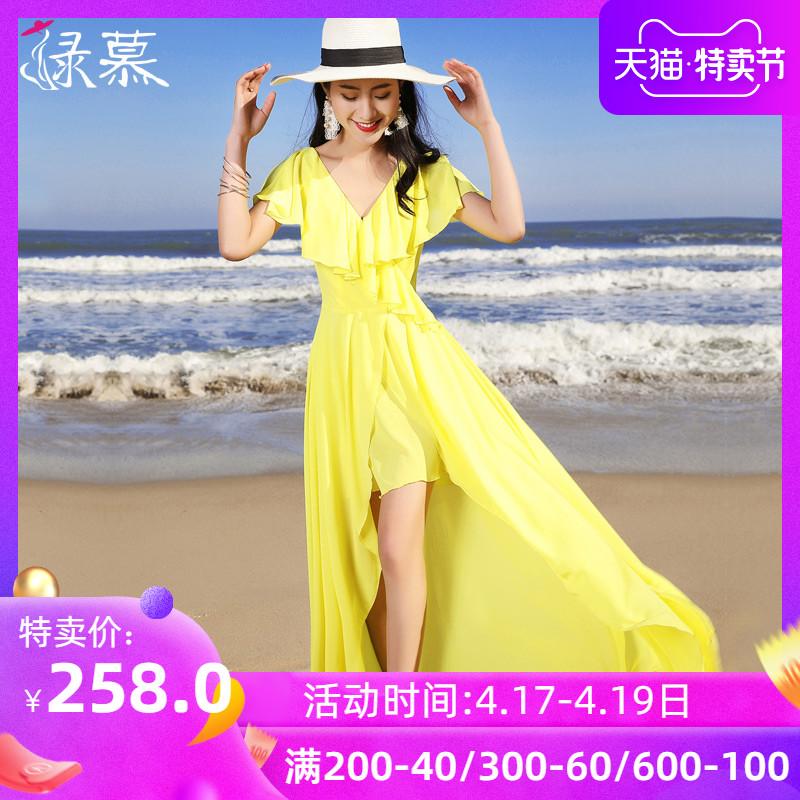 艾格连衣裙 绿慕沙滩裙女夏2021新款海边度假显瘦大码不规则长裙仙雪纺连衣裙_推荐淘宝好看的艾格连衣裙
