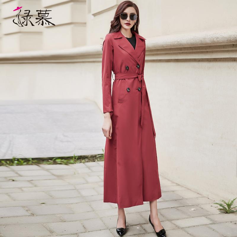 女士风衣 绿慕2021秋季女士风衣双排扣时尚气质修身长款过膝酒红色垂感外套_推荐淘宝好看的女士风衣