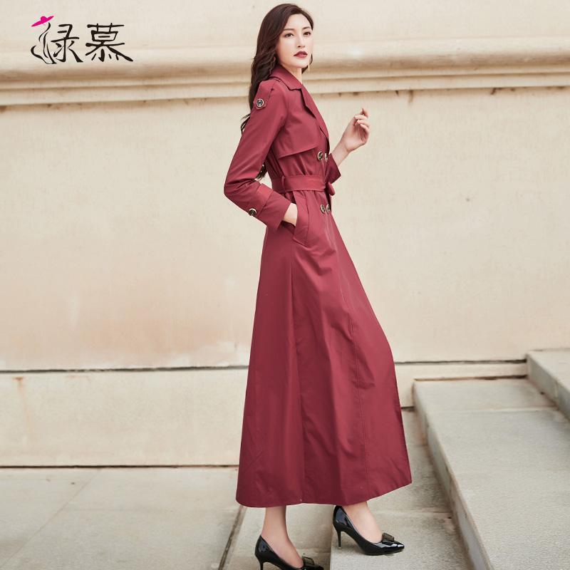 长款风衣 绿慕风衣女长款2021春季新款气质时尚流行过膝英伦风垂感休闲外套_推荐淘宝好看的女长款风衣