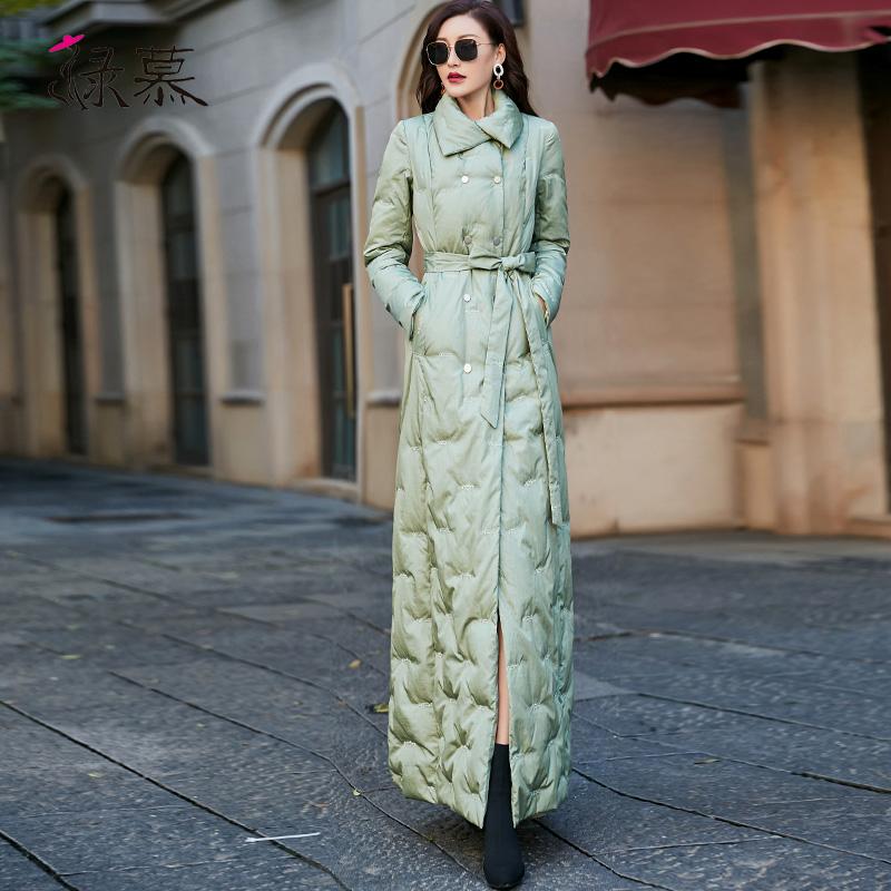 羽绒服 2020冬装新款90白鸭绒羽绒服女中长款加厚修身显瘦超长款过膝外套_推荐淘宝好看的女羽绒服