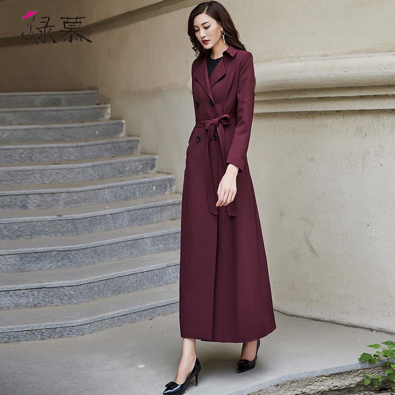 女款风衣 绿慕2020秋装新款女士风衣双排扣时尚气质修身长款过膝酒红色外套_推荐淘宝好看的女风衣