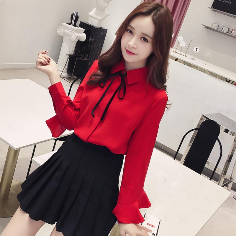 红色雪纺衫 长袖衬衫女新款2021年早春新款洋气质红色雪纺上衣设计感小众衬衣_推荐淘宝好看的红色雪纺衫