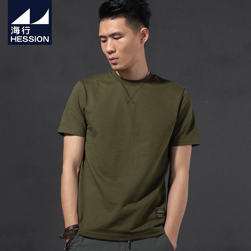 绿色T恤 海行夏季丝光棉重磅圆领短袖t恤男 军绿色潮流休闲冰丝半袖打底衫_推荐淘宝好看的绿色T恤