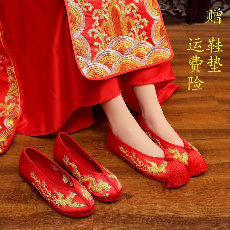 红色平底鞋 2020新款秀禾鞋新娘婚鞋女红色上轿绣花鞋中式结婚秀禾服鞋子平底_推荐淘宝好看的红色平底鞋