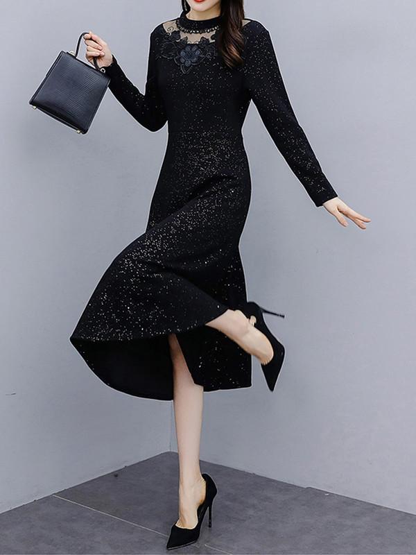 黑色蕾丝连衣裙 2020年秋冬季新款名媛气质蕾丝拼接长袖打底连衣裙女内搭中长裙子_推荐淘宝好看的黑色蕾丝连衣裙