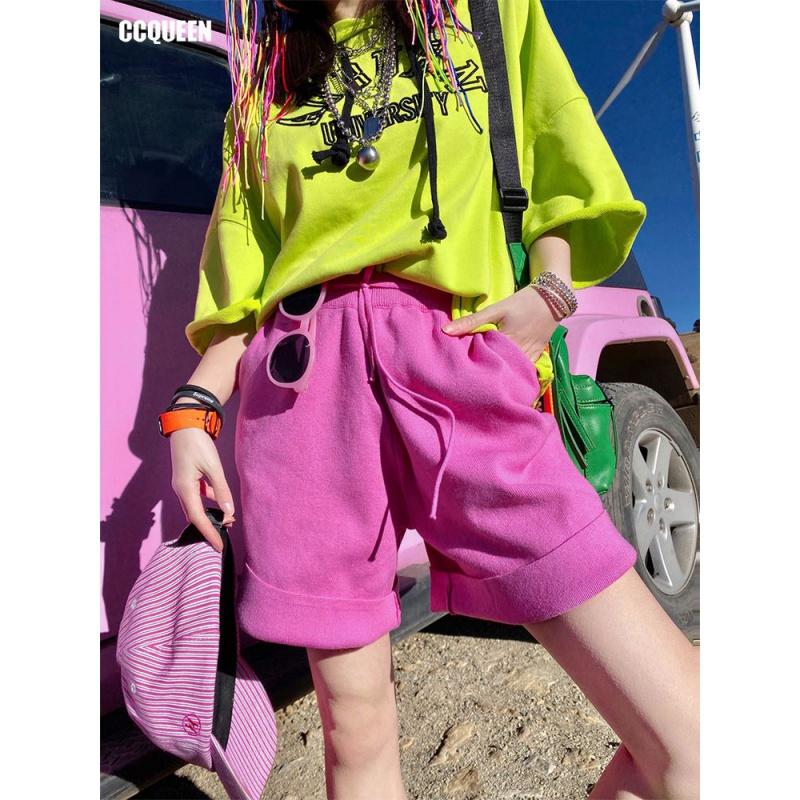 糖果色短裤 短裤2020新款女春夏运动风学生时尚cec糖果色针织五分中裤_推荐淘宝好看的糖果色短裤