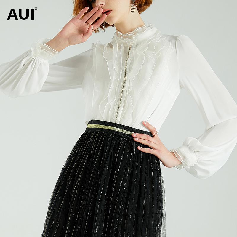 白色衬衫 雪纺衬衫女设计感小众2020年新款外穿百搭灯笼袖上衣白色立领衬衣_推荐淘宝好看的白色衬衫
