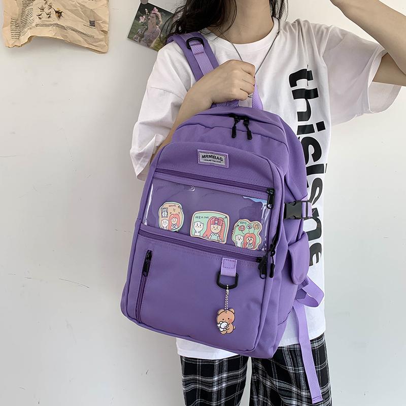 紫色双肩包 2020年新款双肩包大容量紫色透明背包韩版高中大学生牛津布书包女_推荐淘宝好看的紫色双肩包