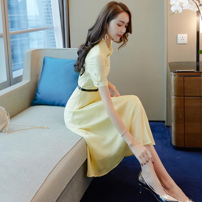 黄色连衣裙 轻熟风雪纺衬衫连衣裙2020新款女装夏淑女收腰显瘦气质女神范衣服_推荐淘宝好看的黄色连衣裙