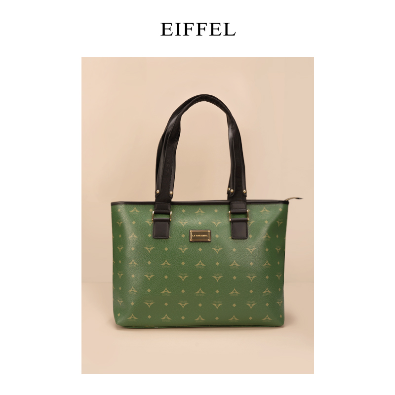 高档手提包 Eiffel艾菲尔品牌高级感大容量托特包包女2021新款大印花手提包_推荐淘宝好看的女手提包