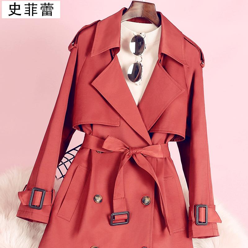 红色风衣 风衣女2020秋季流行中长款英伦风过膝韩版宽松时尚大气砖红色外套_推荐淘宝好看的红色风衣