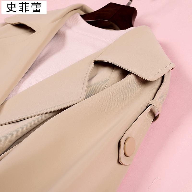 白色风衣 waitmore风衣女中长款小个子2020春秋装新款卡其色西装领外套大衣_推荐淘宝好看的白色风衣
