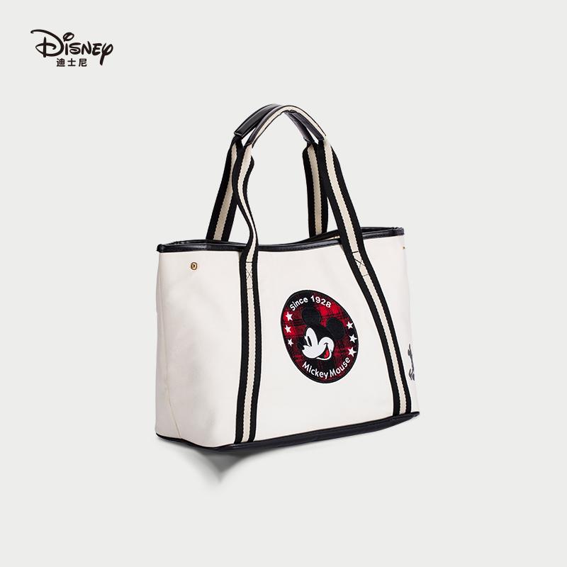 时尚手提包 迪士尼米奇原创帆布包女大容量妈咪包时尚出游旅行包单肩包手提袋_推荐淘宝好看的女时尚手提包