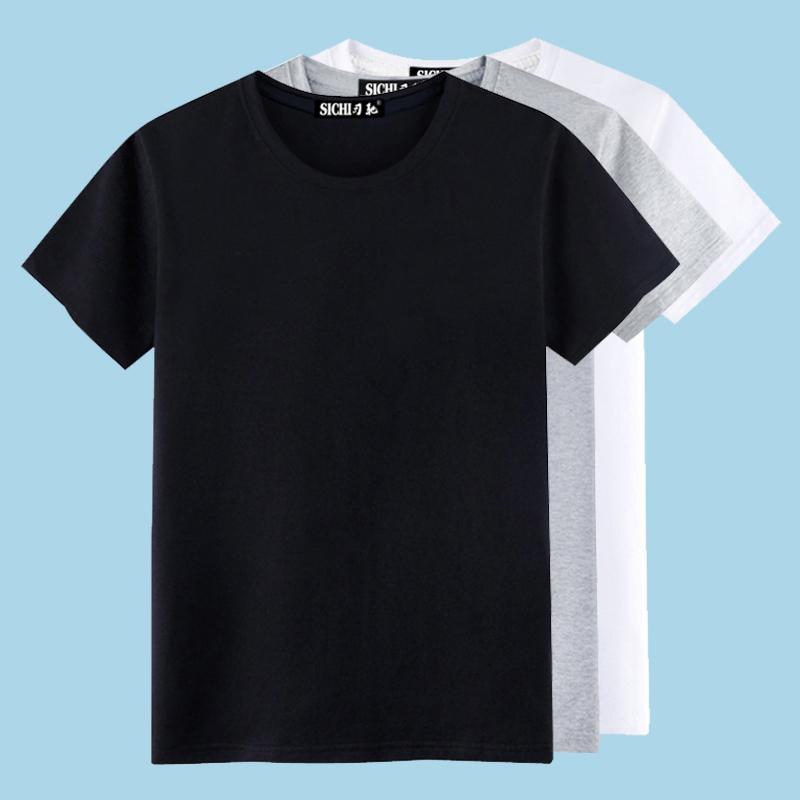 t恤男短袖 短袖t恤男纯棉素色纯黑色全黑全白简单丅夏季纯白体恤上衣服半袖_推荐淘宝好看的t恤男短袖