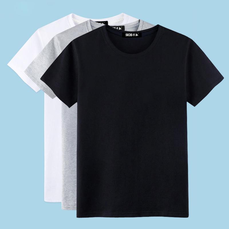 t恤男短袖 短袖t恤男纯棉素色半袖纯白纯黑色全白全黑简单体恤丅夏季上衣服_推荐淘宝好看的t恤男短袖