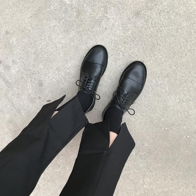 黑色平底鞋 YH春秋英伦风女鞋平底复古学院风chic单鞋圆头系带黑色ins小皮鞋_推荐淘宝好看的黑色平底鞋