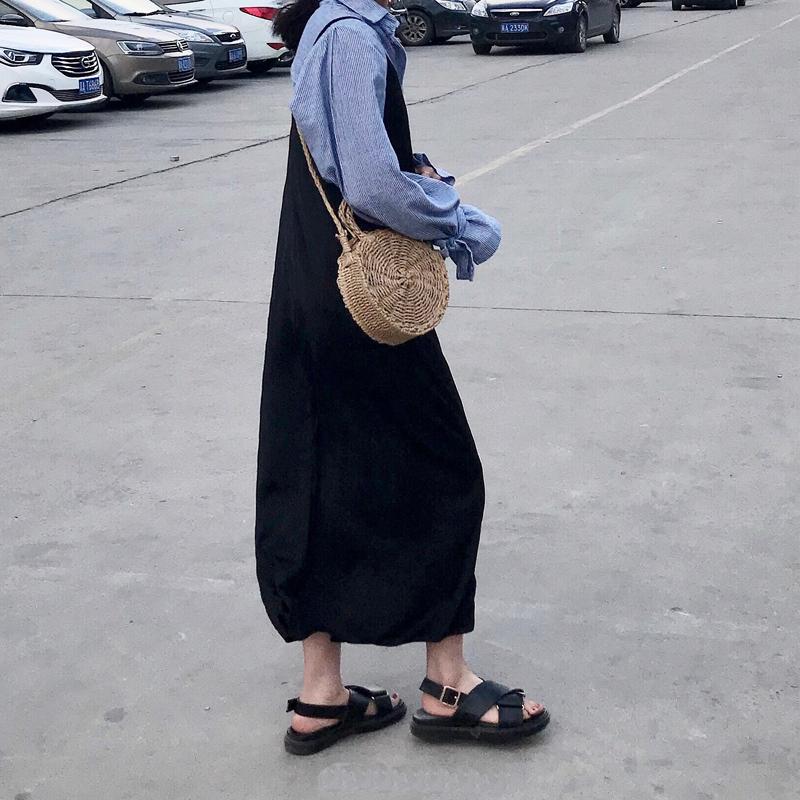 黑色罗马鞋 2021夏季新款松糕厚底黑色马丁平底罗马鞋ins港风交叉带凉鞋女潮_推荐淘宝好看的黑色罗马鞋