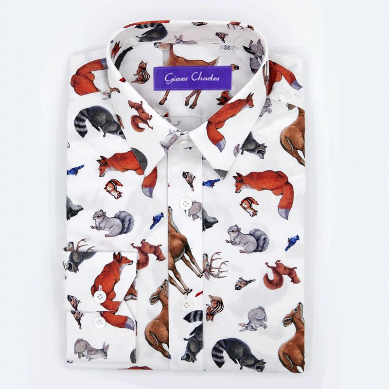 男士衬衫 GIEVES CHARLES贺岁限量版动物主题印花男士纯棉修身休闲衬衫_推荐淘宝好看的男衬衫