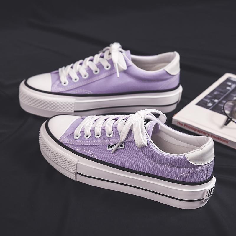 紫色厚底鞋 紫色帆布鞋女学生ulzzang百搭2020年新款夏天低帮增高厚底ins风潮_推荐淘宝好看的紫色厚底鞋