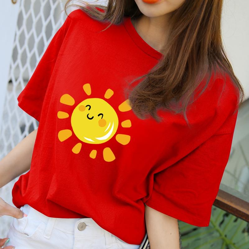 红色T恤 短袖女2020新款红色t恤女纯棉宽松卡通笑脸太阳印花圆领半袖上衣_推荐淘宝好看的红色T恤