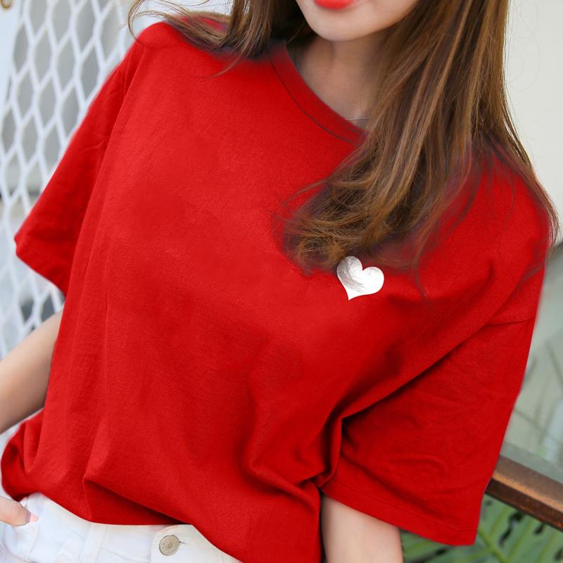 红色T恤 纯棉短袖女2021新款宽松t恤女红色上衣学生韩版夏季体恤爱心印花_推荐淘宝好看的红色T恤