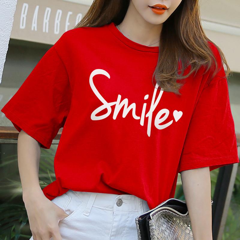 红色T恤 纯棉红色t恤短袖2021年新款女夏季百搭韩版宽松上衣网红超火ins潮_推荐淘宝好看的红色T恤