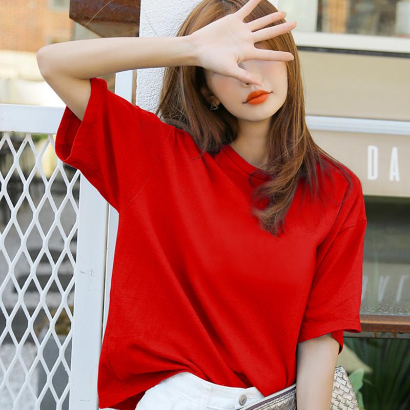 红色T恤 纯棉短袖t恤女红色2021年夏季新款半袖体桖宽松学生纯色上衣圆领_推荐淘宝好看的红色T恤