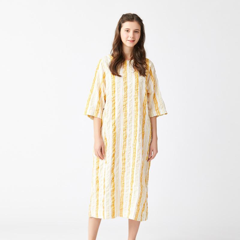 条纹连衣裙 飞鸟和新酒 夏装  全棉条纹泡泡纱连衣裙_推荐淘宝好看的条纹连衣裙