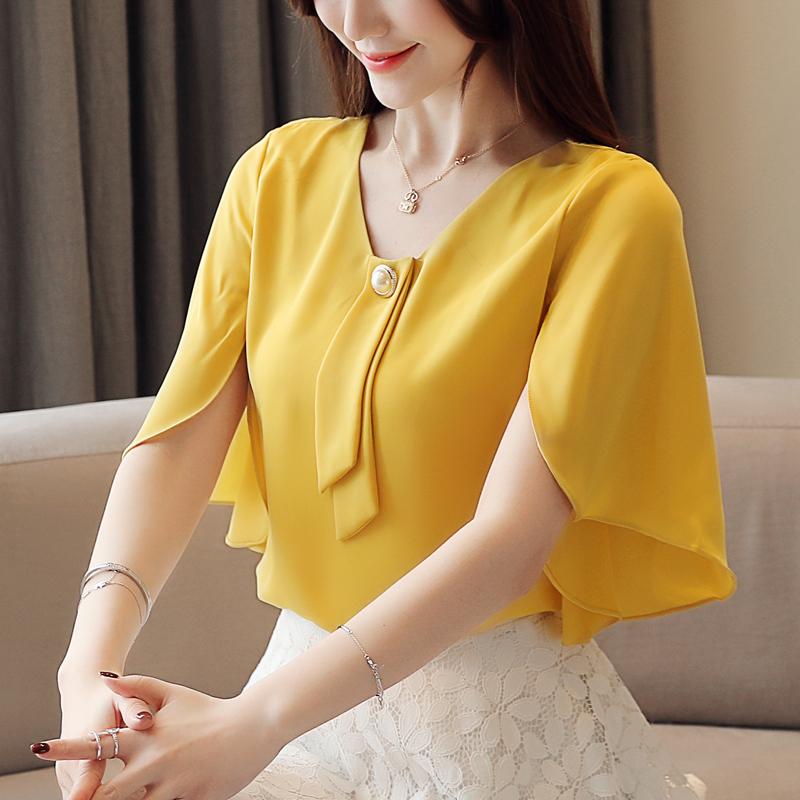 黄色衬衫 时尚雪纺衫女短袖2020夏季新款韩版气质洋气衬衫遮肚显瘦很仙上衣_推荐淘宝好看的黄色衬衫