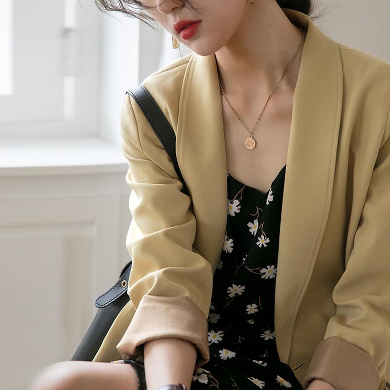 黄色小西装 原水夏装新款2021年黄色小西装外套女韩版设计感小众气质薄款西服_推荐淘宝好看的黄色小西装