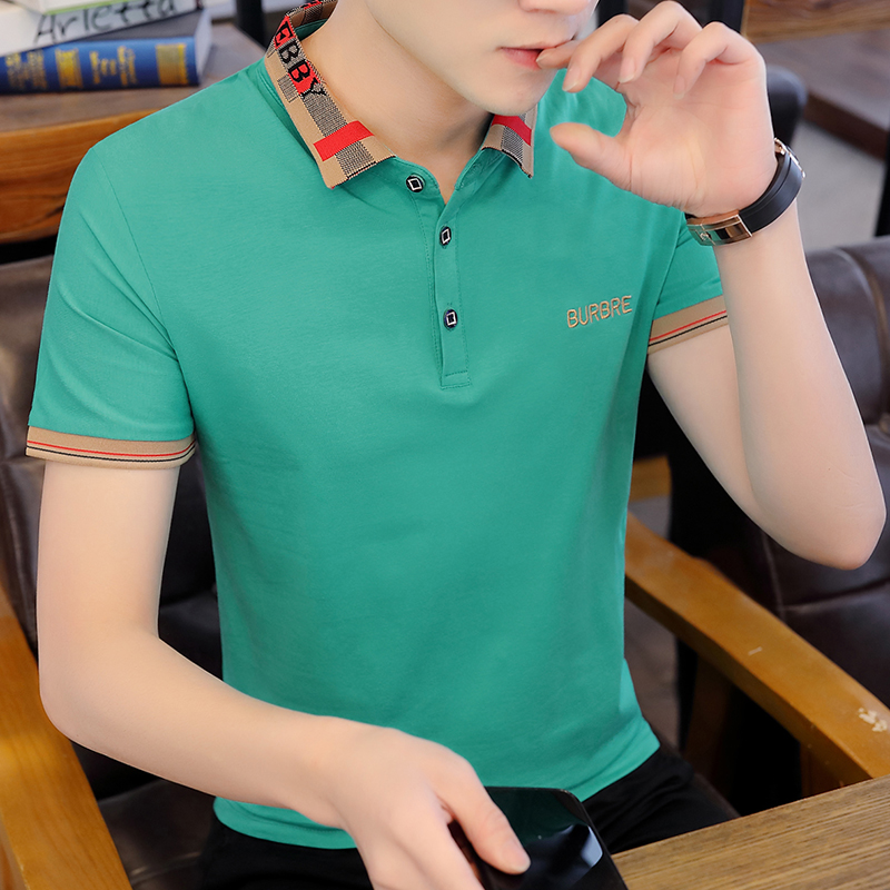 韩版polo衫 夏季男士衬衫领POLO衫短袖针织衫韩版纯棉衣服夏装两件t恤上衣男_推荐淘宝好看的男韩版polo衫