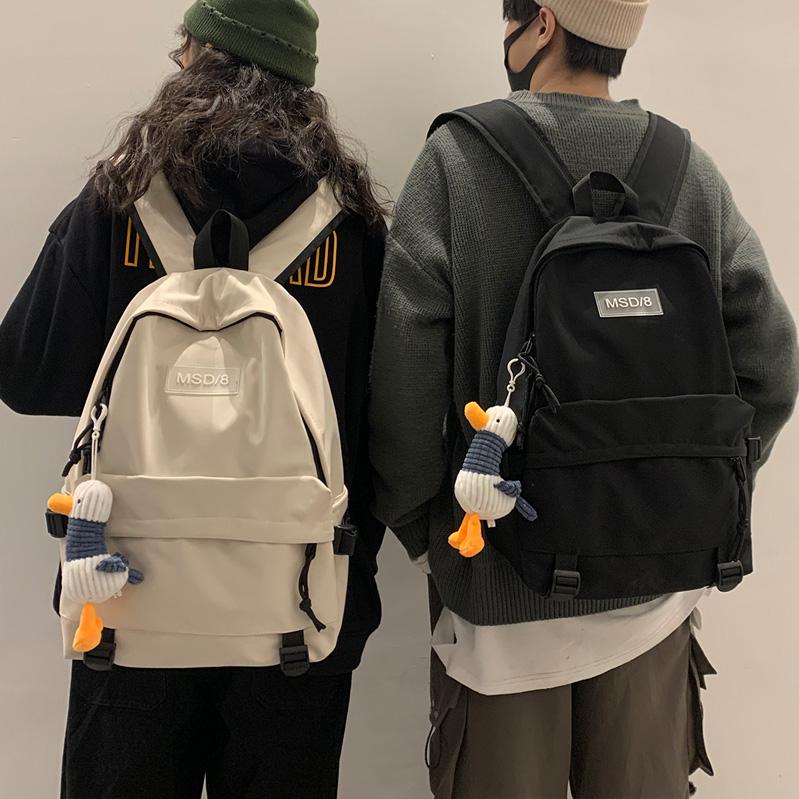 黑色双肩包 书包女韩版高中大学生双肩包大容量百搭ins风黑色男工装旅行背包_推荐淘宝好看的黑色双肩包
