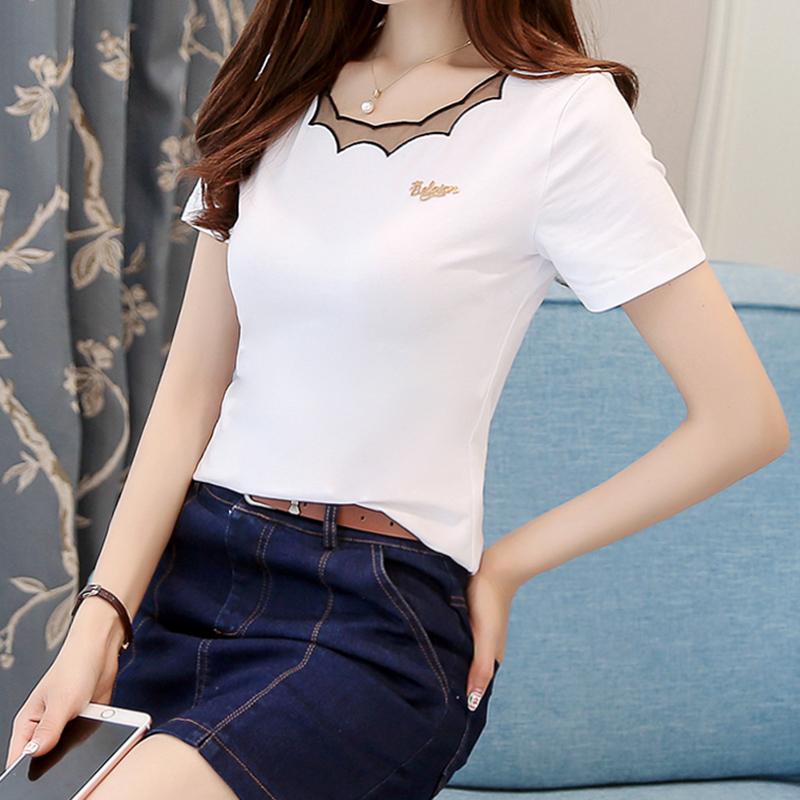 白色T恤 纯棉白色T恤女短袖2021夏季新款 韩版修身网纱刺绣领半袖上衣打底_推荐淘宝好看的白色T恤
