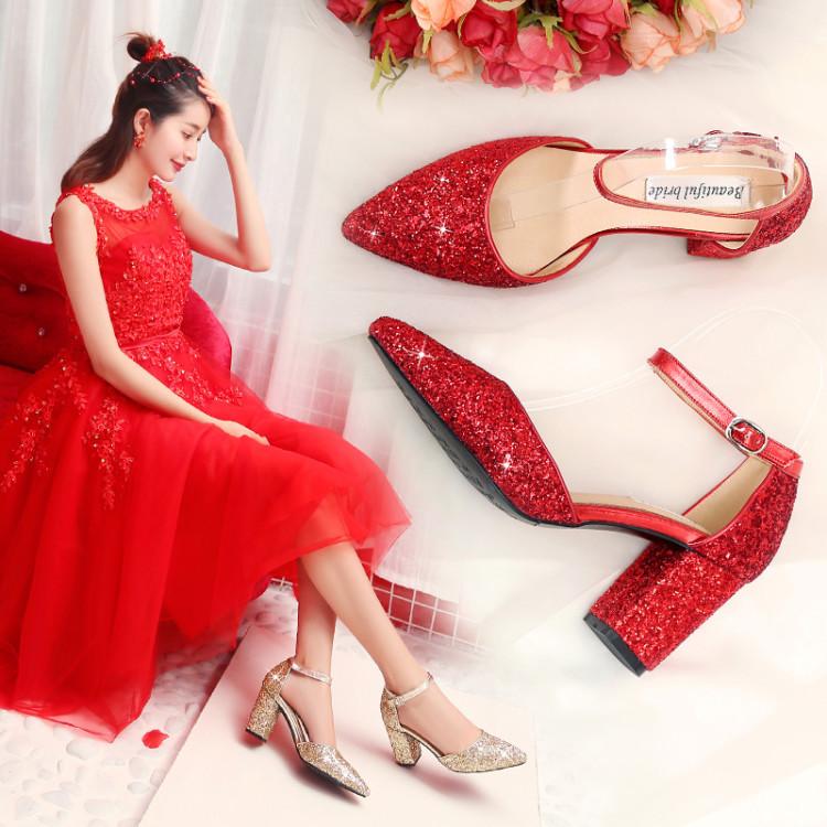 红色高跟鞋 婚鞋2020年新款主婚纱高跟鞋女结婚鞋子新娘鞋红色粗跟敬酒婚礼鞋_推荐淘宝好看的红色高跟鞋