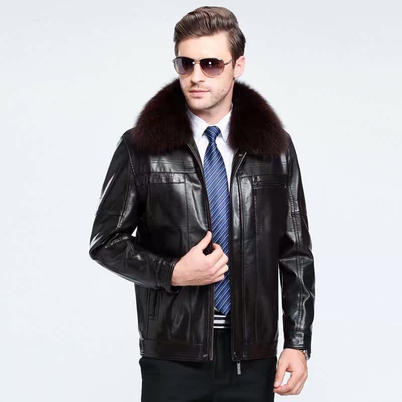 男士毛领皮衣 冬季男式真皮皮衣休闲狐狸毛领绵羊皮男士加绒加厚皮夹克外套拉链_推荐淘宝好看的男毛领皮衣