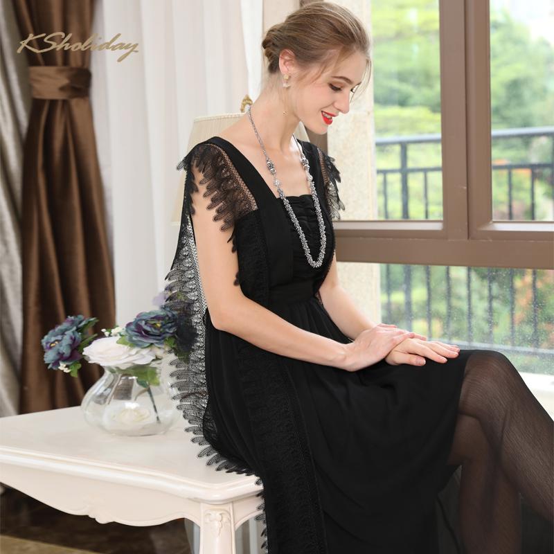 黑色蕾丝连衣裙 欧洲站黑色蕾丝高端长款连衣裙夏季女装性感设计师欧美大牌公主裙_推荐淘宝好看的黑色蕾丝连衣裙
